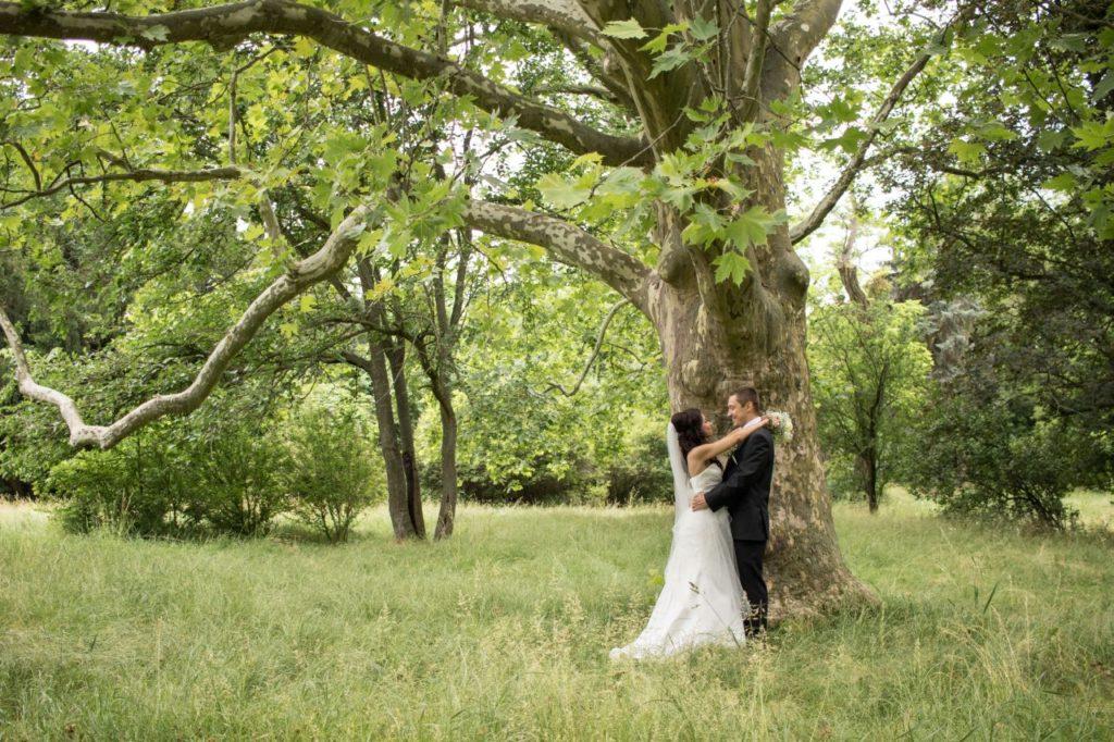 Ženích s nevestou pod stromom v areáli opusteného kaštiela v Malinove